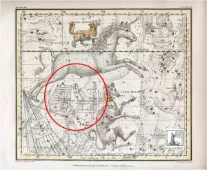 Sternenbild in Alexander Jamieson Sternenatlas von 1822